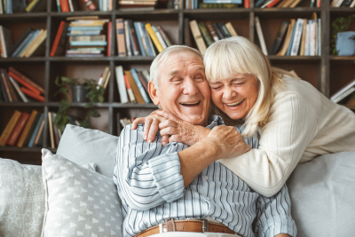senior couple together at home