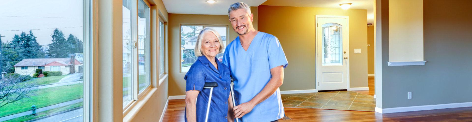 nurse with patient smiling